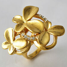 14K Gold Plated Butterfly Flower Cubic Zirconia Cocktail Band Ring Size 7 8 9