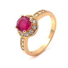 Gorgeous18K Yellow Gold Plated Garnet Round Zirconia Promise Love Band Ring