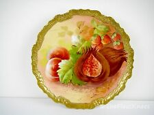 "LIMOGES CORONET Signed SENA Hand Painted 10"" Charger Plate: Fruit"