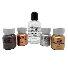 Mehron Metallic Powder & Mixing Liquid Face and Body Paint Long Lasting