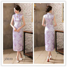 Elegant Purple Chinese Sleeveless Women's Silk Satin Long Dress Cheong-sam S-3XL