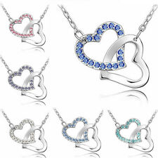 Fashion Women Silver Chain Crystal Heart Pendant Necklace Jewelry Love Gift NEW