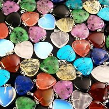 wholesale assorted natural gemstone loose beads charm heart pendant stone DIY