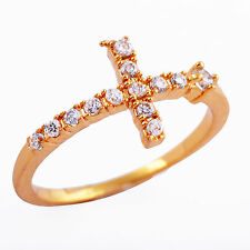 vintage crystal gold F mens womens cross rings knuckle size 6 7 8 free shipping