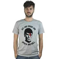 T-shirt Spock and Roll, T-shirt grey Rock Dj with image e sentence funny