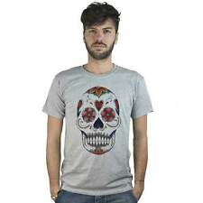 T-shirt Mexican Skull with flowers, T-shirt grey style Tattoo Rock
