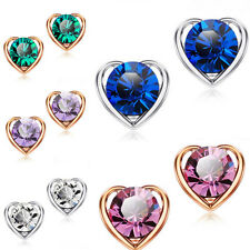 Fashion Womens Ladies Elegant Rhinestone Crystal Heart Ear Stud Earrings Jewelry