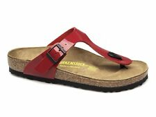 Birkenstock GIZEH Ladies Summer Beach Toe Post Sandals Patent Shiny Tango Red