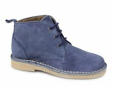 Roamers TRACY Ladies 3 Eyelet Lace Up Suede Leather Desert Boots Pastel Blue