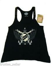 NWT Juicy Couture Women's Crest Wings Logo Black Racer Back Tank Top Shirt