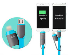 Micro USB + 8 Pin Lightning Sync Data Charging Cable For Android Phone & iPhone