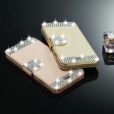 Luxury Crystal Leather Magnetic Flip Wallet Case Cover For Samsung Galaxy/iPhone