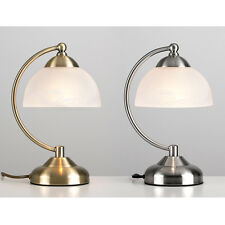 Brushed Chrome / Antique Brass & Glass Touch Dimmer Table Lamp Bedside Lights