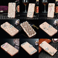 For iPhone 4 4s Luxury Slim Flip Stand Leather Case Bling Diamond Cover Wallet