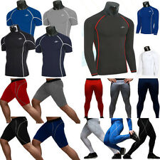 Mens Compression Thermal Tops Under Skins Tights Fitness Base Layer Shirts Pants