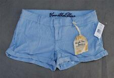 NWT $32 Vanilla Star Woven Blue & White Striped Shortie Shorts Sizes 9 11 13 15