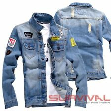 Mens Denim Jacket Designer Outer Wear Blue With Rips and Badges Size XS S M L