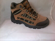 MENS BROWN HIKING BOOTS TRAINERS WALKING TRAIL GREEN FAUX SUEDE