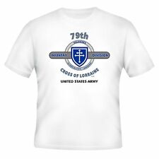 """79TH INFANTRY DIVISION """" CROSS OF LORRAINE""""  WHITE SHIRT  (DESIGN ON FRONT)"""