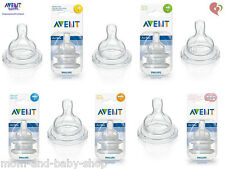 Philips Avent Teat Colic Airflex Silicone Nipple Classic Style Feeding Bottle x2
