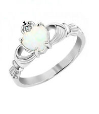 .925 Sterling Silver Lab Created Opal Claddagh Friendship Ring