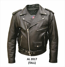 Mens Tall Motorcycle Jacket Premium Black Buffalo Leather Zipout Lining Allstate