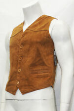 Mens Gents Party Fashion Classic Designer Tan Italian Suede Leather Waistcoat
