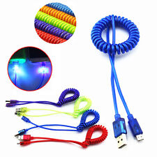 Spiral Coiled LED Light Visible Micro USB Fast Charger Data Sync Cable Cord Lot