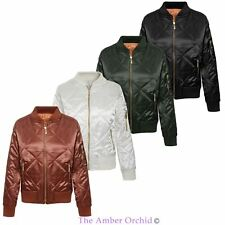 Womens Ladies Satin Quilted Ma1 Bomber Jacket Retro Army Flight Vintage Biker
