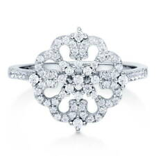 BERRICLE Sterling Silver CZ Flower Fashion Right Hand Ring