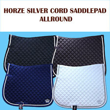 FULL SIZE HORZE SILVER CORD HORSE COTTON ENGLISH SADDLE PAD EMBROIDERED CROWN