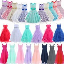 Flower Girl Birthday Pageant Wedding Party Formal Princess Kids Dress Size 4-14