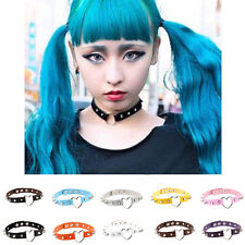 New Harajuku Punk Spike Rivet Collar Heart Ring Leather Choker Clavicle Necklace