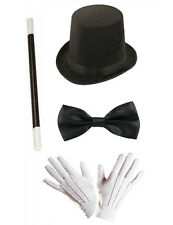 Magician Costume Props Top Hat Wand Bow Tie White Gloves Victorian Wizard Circus