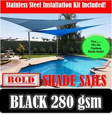 3x6 Metre Black Rectangle Sun Shade Sail with Stainless Steel GR316 Mounting Kit