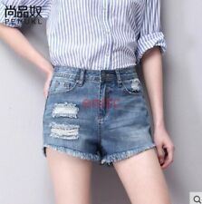 Top Quality A-line Ripped Hole Denim Tassel Womens Shorts Hot Pants Jeans N6-8