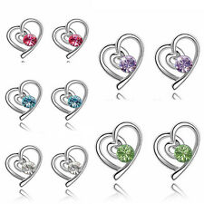 Elegant Women Fashion Silver Filled Crystal Heart Ear Stud Earrings Jewelry Gift