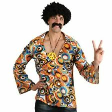 Mens Hippy Hippie 60s 70s Groovy Adult Fancy Dress Costume Shirt & Necklace Fun