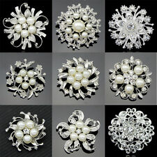 SILVER FLOWER PEARL BROOCH CRYSTAL RHINESTONE DIAMANTE BROACH BRIDAL WEDDING PIN
