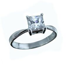 1ct Cubic Zirconia Square Princess Cut, Sterling Silver Ring, Size 5,6,7,8,9,10