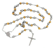 Stainless Steel White Yellow Two Tone Men's Rosary Ball Chain Necklace 6MM 8MM