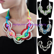 Fashion Beauty Pearl Resin Beads Choker Pendant Statement Cluster Bib Necklace