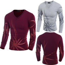 Stylish Tops Mens Luxury V Neck Casual Shirts Slim Fit Shirts Long Sleeve Tops a