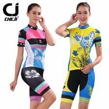 Cheji Bike Wear Women's Cycling Jerseys & Gel Padded Bibs Shorts Kit  2 Colors