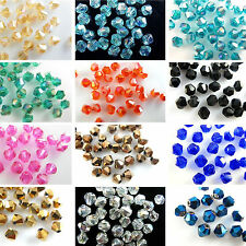 Hot Sale 50/100Pcs Faceted Glass Crystal Loose Bicone Spacer Charming Beads 6mm