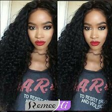 100% Indian Remy Human Hair Deep Curly Lace Front/ Full Wig Baby Hair Arround