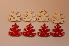WOODEN XMAS TREE EMBELLISHMENTS / TOPPERS X8 - CARD MAKING - SCRAPBOOKING