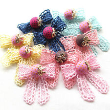 Upick 5/10/20/100PCS Trim Ribbon Flowers Bows Appliques Wedding Deco Mix A0518