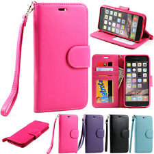 Folio Flip Leather Wallet Card Stand Strap Soft Case Cover for iPhone 6 Plus 5.5