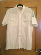 MAHARISHI MHI MENS WHITE LARGE S/S SHIRT WITH MHI PATCHES!!!